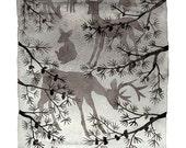 LARGE Grazing Deer Print, giclee prints, animal art, winter illustration, woodland watercolor print