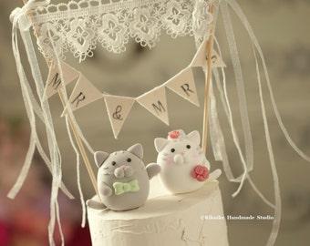 cat wedding cake topper. kitty Wedding Cake Topper---k870