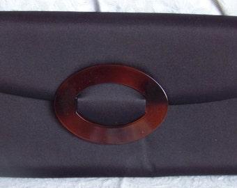 Vintage Clutch Bag with Faux Tortoise Accent  Dorca of Spain Brown