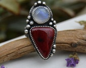 Red White Statement Ring. Boho Ring. Red Alunite Moonstone Ring. Rustic. Large Ring. Size 8