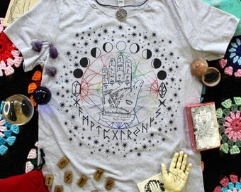 Moon phases, palmistry and runes ,metaphysical intuition tshirt. juniors,ladies and mens.