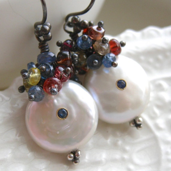 Coin Pearl Earrings with Sapphire