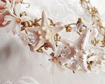 gilded starfish crown, seashell crown, beach wedding headpiece, peach and gold bridal headpiece, luxury wedding, ocean hair accessories