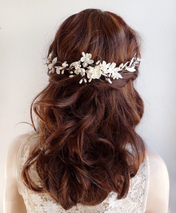 Bridal Hair Vine Piece Wedding Headpiece Ivory