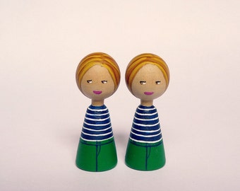 TWO personalized girls twins sisters children Portrait Dolls - Personalized - Wooden hand painted grandchildren boys girls