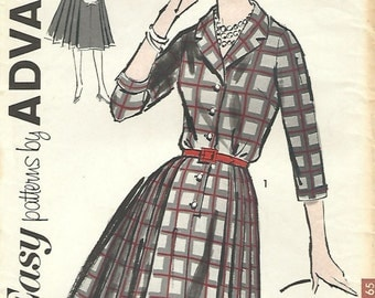 1960s Advance 2730 UNCUT Vintage Sewing Pattern Misses Shirtwaist Dress, Pleated Dress Size 12 Bust 32, Size 14 Bust 34