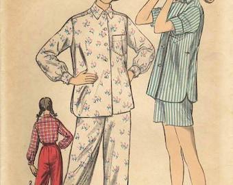 1950s Advance 6237 Vintage Sewing Pattern Teen Long Pajamas, Short Pajamas, Sleepwear Size 14 Bust 32