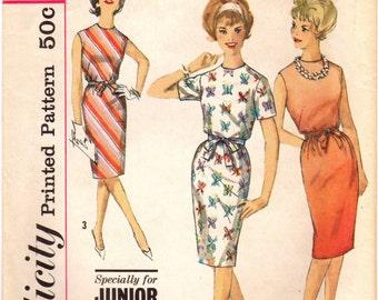 1960s SImplicity 4348 Vintage Sewing Pattern Junior Petite Slim Dress Size 9 JP Bust 31-1/2, Size 11 JP Bust 33