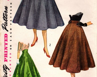 1950s Simplicity 3977 Vintage Sewing Pattern Misses Skirts Size Waist 26
