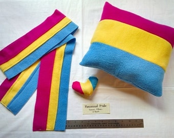 Pansexual/Panromantic Pride Scarves, Pillows and Mini Hearts