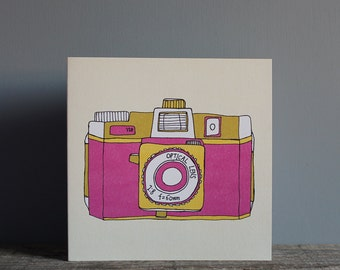 Holga Camera Pink Greetings Card