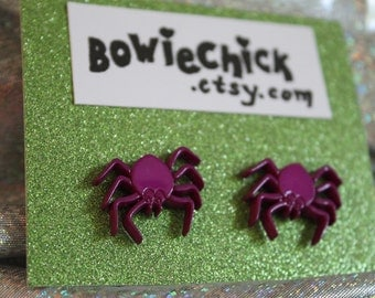 Spider Earrings, Stud Earrings, Buttons, Purple, Orange, Surgical Steel Posts