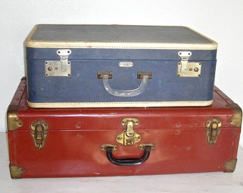blue suitcase - vintage trans continental streamliner - continental trunk co san francisco - navy with cream trim luggage - distressed case