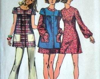 Vintage 70's Simplicity 9834 Sewing Pattern, Junior Petite Mini-Dress, Smock And Pants, Size 11 JP, 34 Bust, Uncut FF, Retro 1970's Fashion