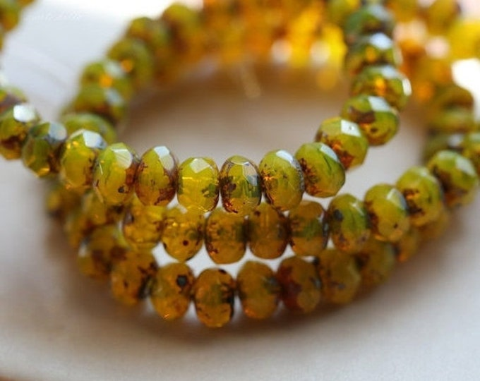 LEMON CUSTARD BABIES ..  30 Premium Picasso Czech Rondelle Glass Beads 3x5mm (5112-st)