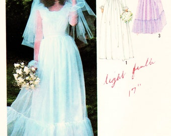 "Simplicity 8825 Misses' Mod Lined Wedding Dress Sewing Pattern Vintage 1979 Misses Bust 32.5"" Bridesmaids"