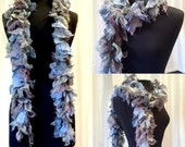 Moss Agate, Hydrangea, Blue Steel Hand Dyed Silk Boa, Agate Beach, Unique One of a Kind Fashion Accessory, Designer Original