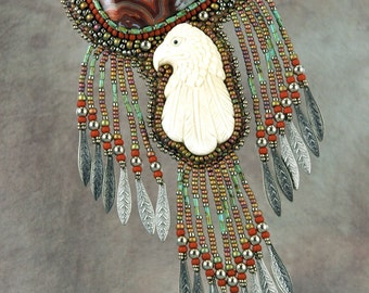 Necklace, bead embroidery, beaded, eagle, bone, one-of-a-kind