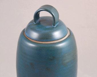 Lidded Jar with Loop Handle in Teal Blue