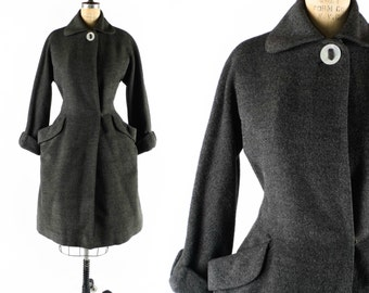 "FREE U.S. Ship - Vintage 50s Coat // 1950s Coat // Princess Coat // Fitted Coat // Grey Coat // Winter Coat - sz L - 34"" Waist"
