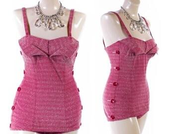 Vintage 50s Swimsuit // 1950s Swimsuit // Catalina CHROMSPUN Red Swimsuit // Petal Bust Swimsuit - sz S