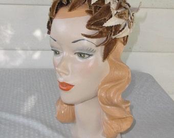 50s 60s Vintage Olive and Beige Velvet Leaf and Feather Cocktail Hat