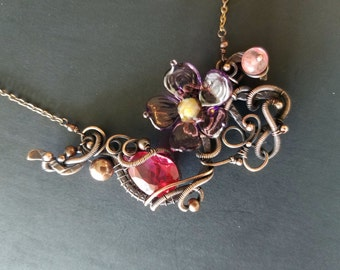 Berry Vine Necklace Ruby quartz amethyst flower blossom free form copper wire