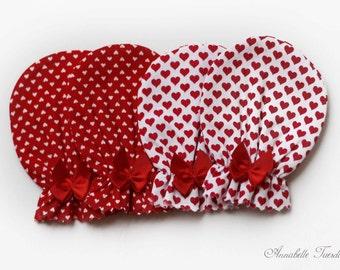 2 Pack Red Hearts Newborn Mittens Scratch Mittens Valentine's Set
