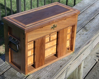 Handmade Machinist Chest, Walnut and Quilted Maple