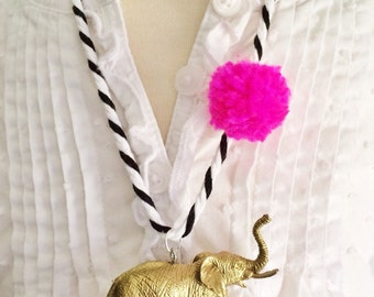 Elephant Necklace Pom Pom Necklace Animal Necklace Pompom Jewelry Girls Animal Necklace Kids Jewelry Jewelry for Tweens
