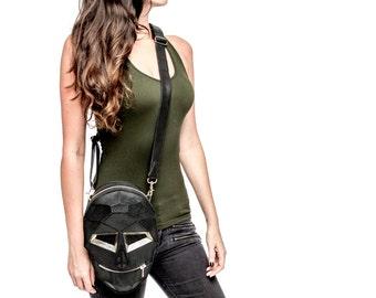 Geometric Skull leather backpack purse and leg holster bag