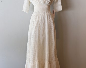Vintage Edwardian Cotton Eyelet Wedding Dress ~ Antique Edwardian Wedding Gown White Cotton Batiste