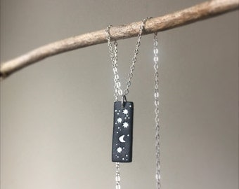 Star Necklace/ Star Clay Necklace/ Clay Star/ Black and White Necklace/ Star Clay Necklace/ Star/ Clay Star Necklace/ Constellation Necklace