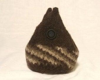 Brown Stripe Felt Pouch - Small Curvy Coin Purse