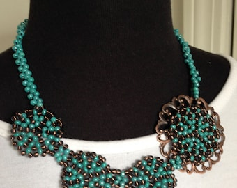 Beaded jewelry necklace handmade beaded blue necklace blue statement necklace OOAK