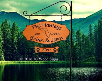 State Outline Personalized Camping Sign - Family Name Wooden Camp Sign with 1 add on - JGWoodSigns - RV Name Sign Etsy Hanley