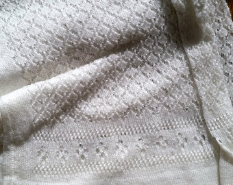 Antique Knitted Lace Wedding Stockings, white cotton, late Victorian