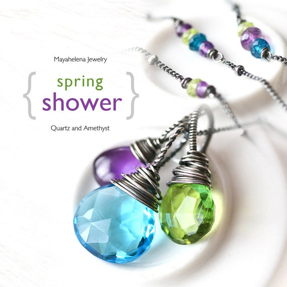 Spring Shower - Swiss Blue Quartz, Peridot Green Quartz and Purple Amethyst Sterling Silver Wire Wrapped Necklace on a Beaded Chain