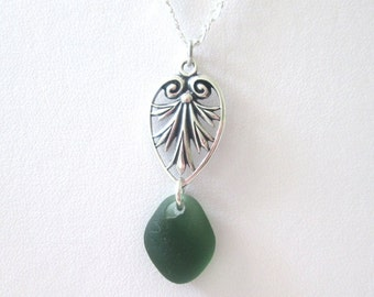 Vintage Style Filigree Heart Pendant with Fern Green Sea Glass Drop Necklace in Sterling Silver