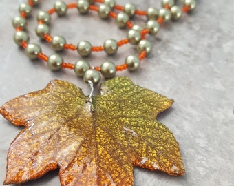 "Real Fall Leaf and Swarovski Pearls with Sterling Silver and Springring Clasp 22."" - Free Shipping"