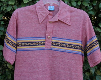 AZTEC STRIPE: Vintage OP Sunwear Wide-Collar Shirt, Space Knit Cardinal Red, Seminole Geometric Pattern, Wooden Buttons, Cotton-Poly, Medium