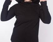 Women's black organic cotton fleece hoodie //  Extra large cowl neck hood // MADE TO ORDER