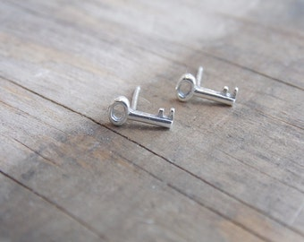 Skeleton Key Earrings Sterling Silver