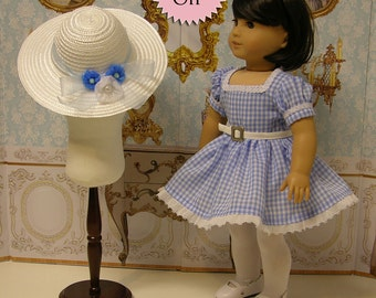 Country Chic - vintage style dress for American Girl doll in blue **Sale**