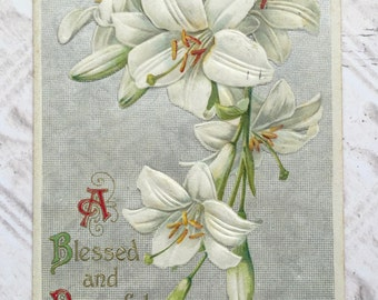 Vintage Easter Postcard Flower Religious Holiday Christian Blessed Peaceful One Cent Stamp
