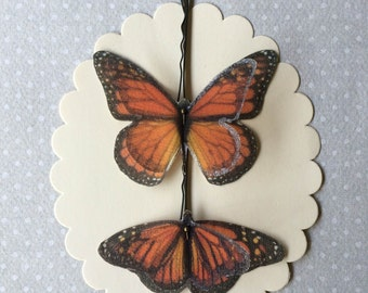 Handmade Butterfly (Monarch) Hair Bobby Pins in Orange Cotton and Silk Organza Fabric - 2 pieces