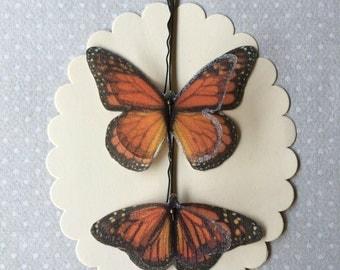 Soft - Handmade Cotton and Silk Organza Monarch Butterflies Hair Bobby Pins - 2 pieces