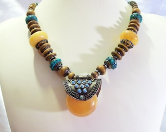 Copal Turquoise Carved Bone Beads Funky Chic Tibetan Silver Tribal Eccentric Vintage  Necklace