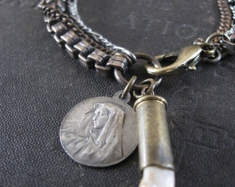 Coyote Tooth Bullet and Catholic Medallion Bracelet