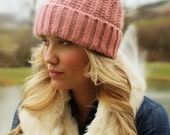 Slouchy Knit Hat with Faux Fur Pom Pom | Dusty Pink and White Rabbit Faux Fur Winter Cap